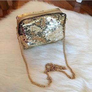 Gold Sequin Crossbody Evening Bag on a Chain